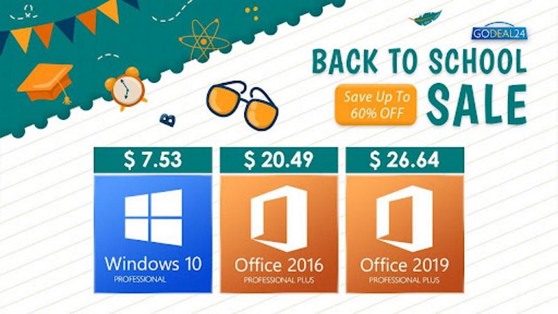 Распродажа Обратно в школу от Godeal24: Office от $20 и Windows 10 от $7,5