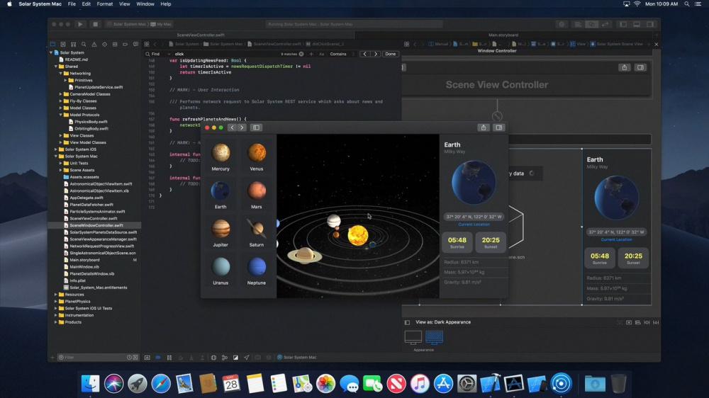 ВСеть утекли скриншоты черной темы macOS 10.14