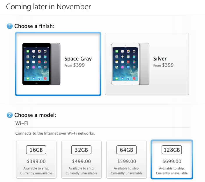 iPad mini Retina selling