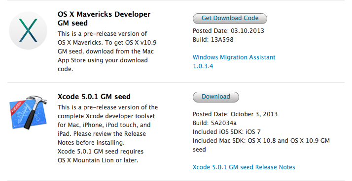 OS X Mavericks GM