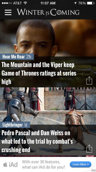 Game of Thrones News App - WiC