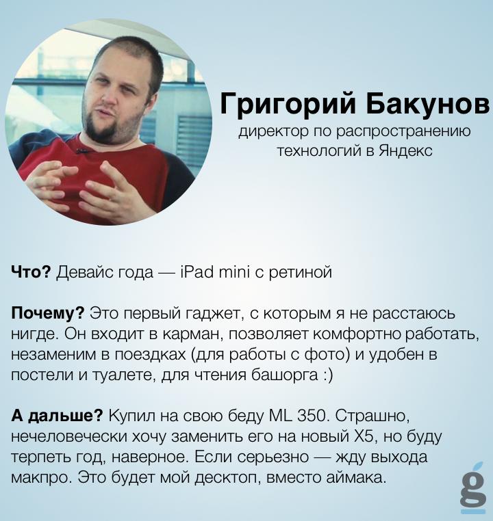 Девайс года Григория Бакунова