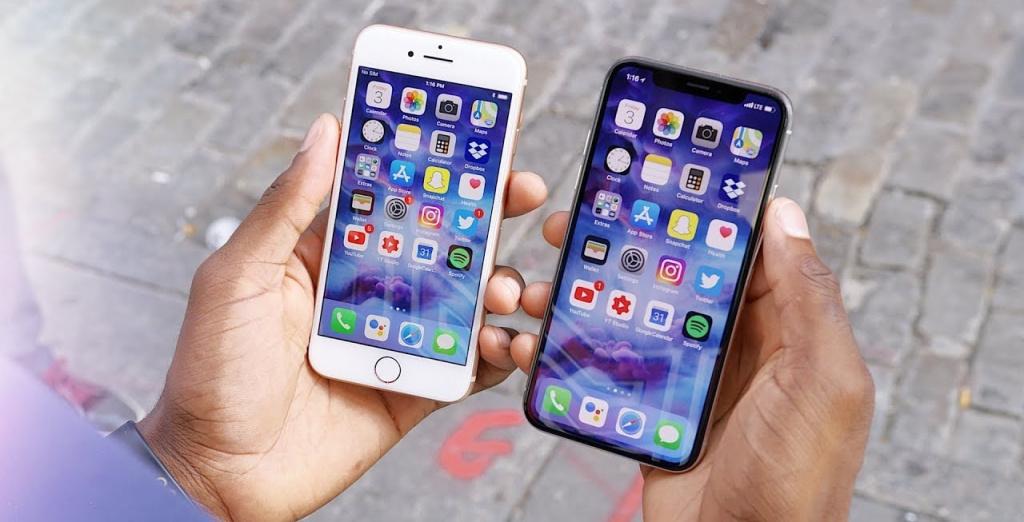 16c3a49a3c9b8 Наглядное сравнение размеров iPhone Xs Max и iPhone 8 Plus