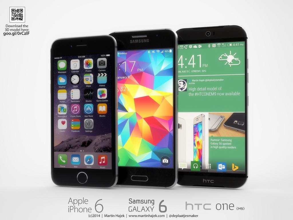 Сравнение дизайна iPhone 6 с Samsung Galaxy S6 и HTC One (M9)