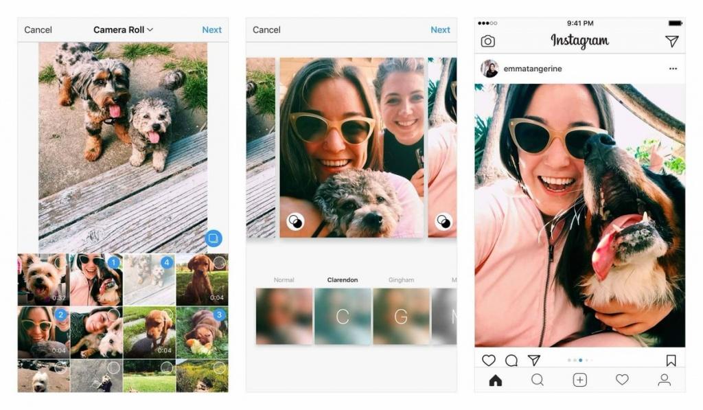 Публикации нескольких фото водном посте социальная сеть Instagram  вышли запределы квадрата