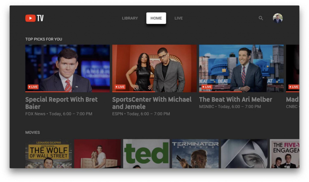 YouTube TV для Apple TV