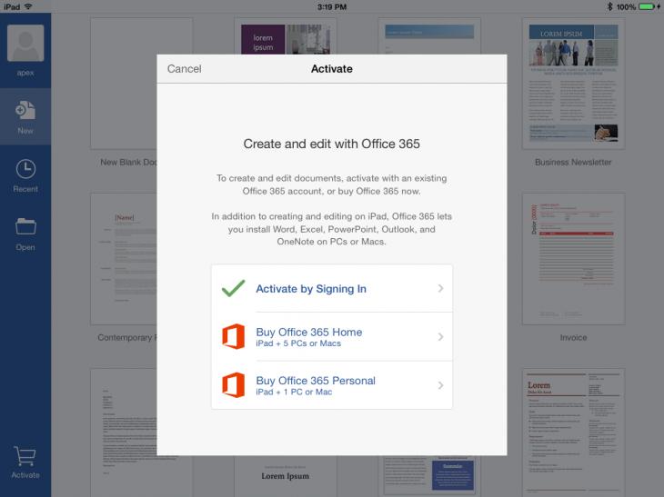 Подписка Office 365 через iPad