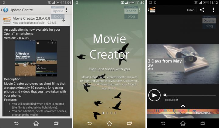 Xperia Movie Creator