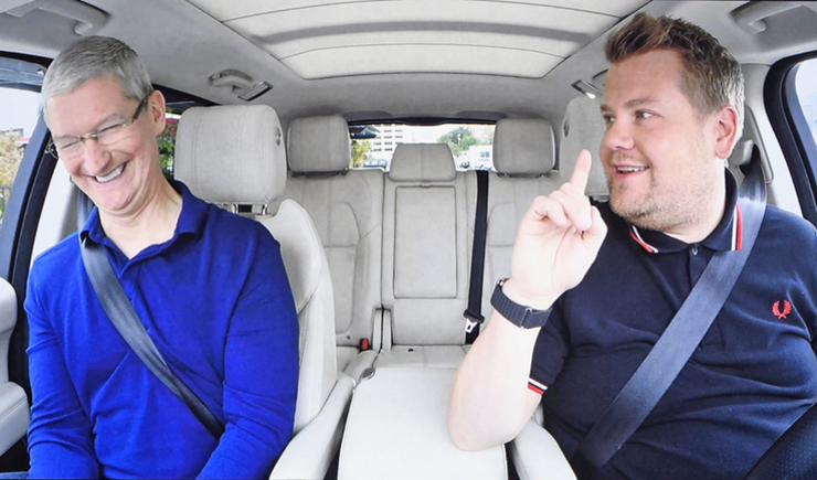 tim cook with james cordon