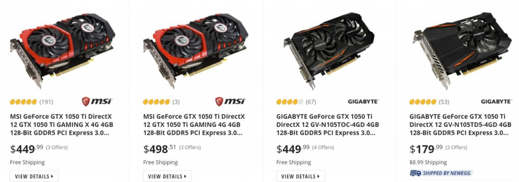 GeForce GTX 1050 Ti GPUs