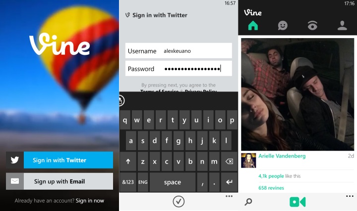 Vine для Windows Phone