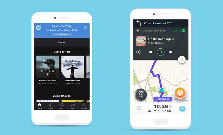 Waze и Spotify