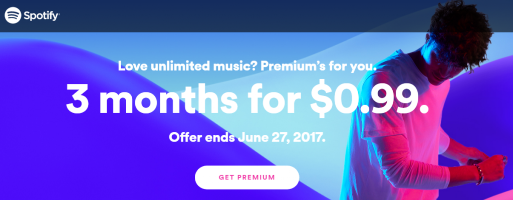 Как получить три месяца Premium на Spotify за один доллар