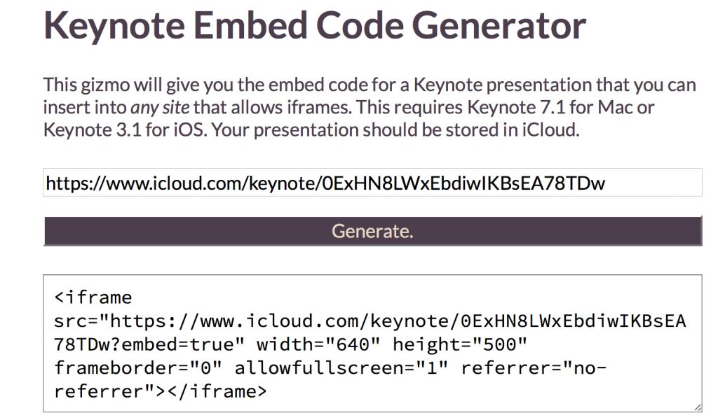 Инструкция: как встраивать в блоги и на сайты презентации Keynote из новой версии iWork